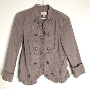 LOFT Frill Taupe Open Blazer Jacket